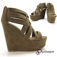 SODA BERTA Women Fashion Shoes High Platform Wedges Heels Strappy Sandals HOT