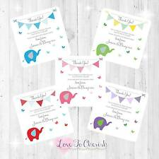 Personalised BABY SHOWER Thank You Cards Elephant Butterfly BOY GIRL UNISEX