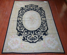 4' x 6' Needlepoint Rug Vintage Handmade French Country Beige Black Beautiful
