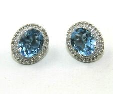 Natural Oval Blue Topaz & Diamond Halo Stud Earrings 14K White Gold 5.63Ct