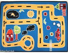 Spielteppich 100x150 Straße Kinderteppich Kinderzimmerteppich Teppich blau neu