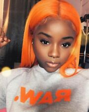 Lace Front Wigs Long Orange Full Wig, Natural Straight Copper Color Heat Safe