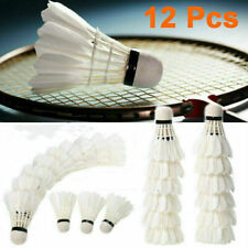 12 pcs White Feather Birdies Badminton Ball Shuttlecocks Sport Training Game USA