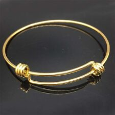 5pcs/lot Gold Color Stainless Steel Adjustable Wire Bangle Charm Bracelet