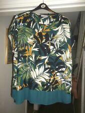 PER UNA  Size 22 Rain Forest Print Top/Tunic With Chiffon Hemline Cotton Blend