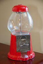 GUM BALL MACHINE VINTAGE RED METAL BASE HAND BLOWN BUBBLE PLASTIC CAP AT BASE