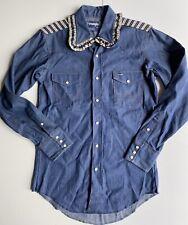 Vtg Wrangler Denim Womens Western Shirt X Long Tails Sz M Floral Collar Ooak