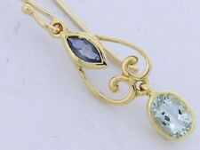 E065- Lovely Real 9ct Gold Natural Sapphire & Aquamarine  Drop Dangle Earrings