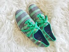 Kate Spade Keds Green & gray Striped Sneaker Size 9 Cotton Canvas Laced Up