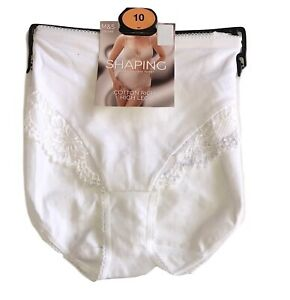 M&S Light Control Cotton Rich White High Leg Knickers Size 10
