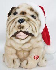 Singing Shar Pei Plush Stuffed Christmas Dog Santa Claus Bulldog Canine Crooner
