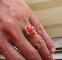 Vintage Hand Carved Silver Yellow Gold Carved Coral &  Ring Size 7,5