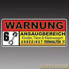 Ansaugbereich 6 Zylinder Aufkleber  Warnung 6 zylinder turbo lader rs+ kkk  d50