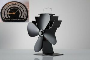 4 Blade Heat Powered Stove 334 Fan & FREE Thermometer Wood & Coal Fire Burners