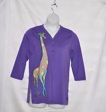 Bob Mackie 3/4 Sleeve Gentle Giraffe Henley Tunic Size S Purple