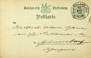 GERMANY WURTTEMBERG 1890 5pf POSTAL CARD FROM STUTTGART TO GUMMERSBACH