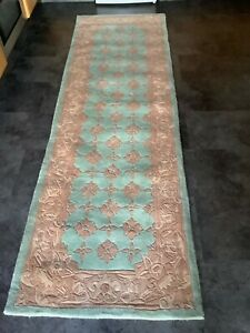 CHINESE SAVONNERIE, 8 FOOT RUNNER,  BRAND NEW, HAND MADE,  PURE WOOL...FREE DEL.