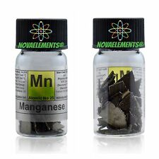Manganese metal element 25 Mn flakes 10 grams 99,9%, in labeled glass vial