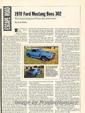 1970 Ford Mustang Boss 302 Original Car Review Print Article J679