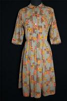 CLASSIC VINTAGE 1950'S TAUPE BROWN, GOLD  AND ORANGE COTTON PRINT DRESS SIZE 6