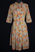 Vintage Clásico 594ms Color Topo Marrón, dorado y Naranja Impresión Algodón