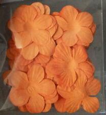 50 x 3cm Pretty Scrapbooking Paper Flowers - Orange
