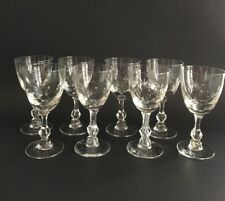 Set of Eight Vintage Etched 4 oz. Wine Glasses