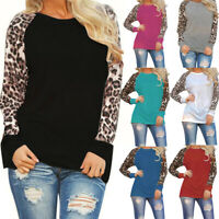 NEW Womens Leopard Blouse Long Sleeve Tops Round Neck Ladies T-Shirt Tops Blouse
