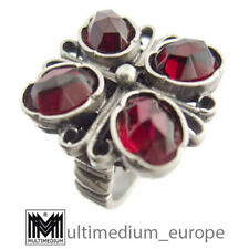 Silber Ring Granat signiert im Gothik Jugendstil silver garnet 🌺🌺🌺🌺🌺