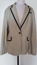 SARA Light Beige/Navy Trim Jacket Size 24 NWOT