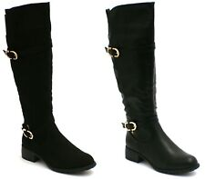 WOMENS BLACK SUEDE ZIP STRETCH RIDING BOOTS KNEE HIGH LADIES SIZES