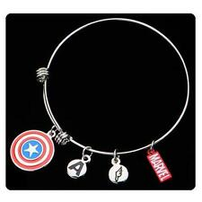 Marvel CAPTAIN AMERICA Licensed A&A Style BRACELET with 4 CHARMS Cap SHIELD Logo