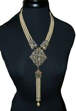 HEIDI DAUS Statement Necklace Swarvoski crystal pendant faux pearls