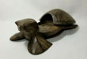 Wooden Sea Turtle Tea Light Holder ~ 2 Piece Beach House Coastal Decor 7""