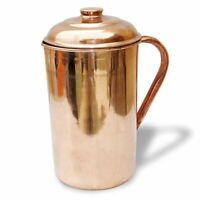 Indian Copper Plain Jug 1000 ML Health Pitcher Water Storage Benefit Ayurveda