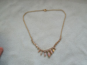 Beautiful Gold Tone Fire Opal Necklace With Clear Cut Stones