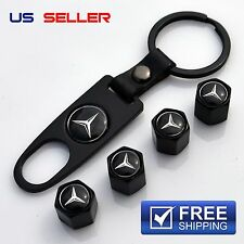 MERCEDES-BENZ VALVE STEM CAPS + KEYCHAIN WHEEL TIRE BLACK - US SELLER VS13
