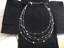 NOLAN MILLER NECKLACE Silvertone Faux Pearl & Crystals 4 Strands Chain. NEW