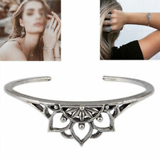 Vintage Retro Bangle Boho Hollow Lotus Charm Bracelet Cuff Silver Plated Jewelry