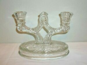Vintage Fancy Pressed Glass Double Taper Candle Holder Candelabra