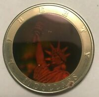 2001 Liberia 10 Dollars - Statue of Liberty Hologram