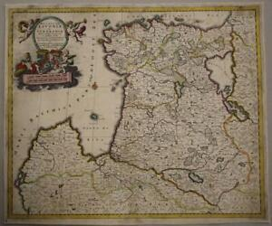 ESTONIA & LATVIA 1690 DANCKERTS UNUSUAL ANTIQUE ORIGINAL COPPER ENGRAVED MAP