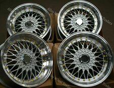 """15"""" Silver RS Alloy Wheels Fits Bmw e21 e30 Chevrolet aveo corsa lanos 4x100 GS"""