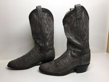#J MENS DAN POST COWBOY OSTRICH SKIN LEATHER GREENISH BOOTS SIZE 8 D