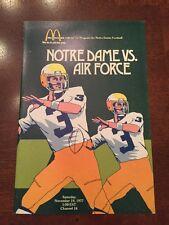 1977 McDonald's Official Football Program  Notre Dame Vs. Air Force,Joe Montana