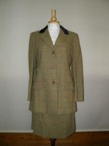 Vintage Ladies Mulberry Green Tweed Lead Rein/In Hand Show/Sports Outfit Size 14