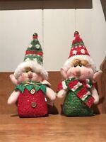 Burton & Burton Plush Christmas Set Of 2 Elf Elves Stuffed Red Green Scarf Hat
