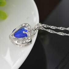 1PC Royalblue Crystal Pendant Chain Double Heart Necklace Love Valentines Gift