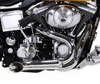 Chrome Wyatt Gatling 2 into 1 Exhaust Lake Pipe Header Harley Chopper 18mm O2