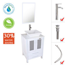 "24"" Bathroom White Vanity Ceramic Vessel Sink W/Mirror Cabinet White Basin Set"